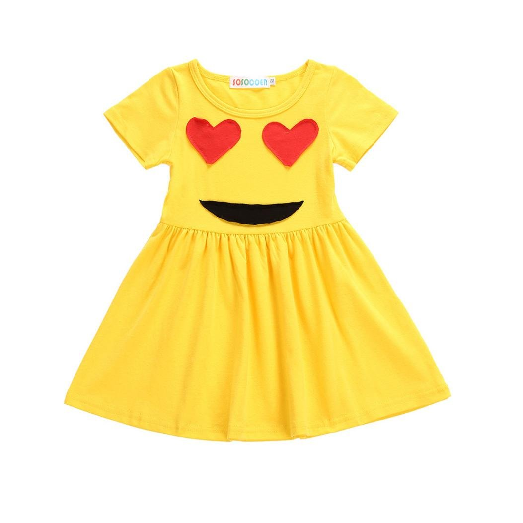 Robe de Princesse Fille, Manadlian Bébé Filles Robe Emoji Emoticon Smiley Sun Dresses Filles 12 Mois - 5 Ans Manadlian Bébé Filles Robe Emoji Emoticon Smiley Sun Dresses Filles 12 Mois - 5 Ans (Jaune 1 5 Ans) Casual
