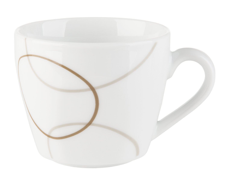 Home4You Kaffee-Service Kaffeegeschirr Geschirrset Nougat 6 Personen 18-TLG.   Wei/ß-Braun Porzellan