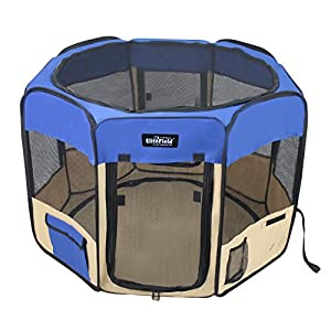 EliteField 2-Door Soft Pet Playpen, 3 Size 4 Color Available (Royal Blue+Beige, 36″ x 36″ x 24″H) Click on image for further info.