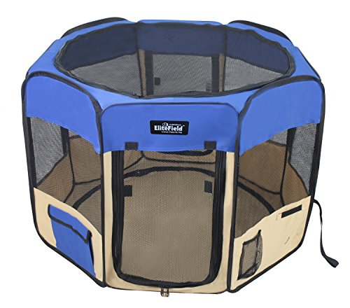 "EliteField 2-Door Soft Pet Playpen, Exercise Pen, Multiple Sizes and Colors Available for Dogs, Cats and Other Pets (48"" x 48"" x 32""H, Royal Blue+Beige)"