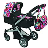 Babyboo Deluxe Doll Pram Color Gumball & Black with Swiveling Wheels & Adjustable Handle and Free Carriage Bag - 9651B GB