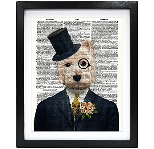 - 8X10 Unframed Gentleman Dog Upcycled Vintage Dictionary Art Print Book Art Print Home Decor Funny Wall Art Funny Art V133
