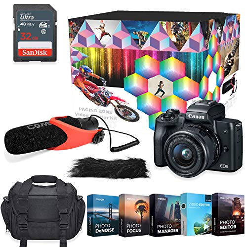 Canon EOS M50 Mirrorless Digital Camera Professional Photo & Video Editing Software Vlogging Kit with 15-45mm Lens (Black)