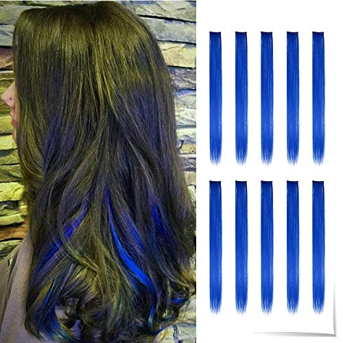 Tofafa 22 Inch Colored Hair Extensions,Multi-colors Party Highlights Clip in Synthetic Hair Extensions(10 Pcs Blue)