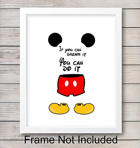 Motivational Mickey Mouse Quote - Unframed Wall Art Print - Perfect Gift For Disney and Disneyworld Fans - Great Home Decor For Nursery, Girls or Boys Room- Ready to Frame (8X10) Photo