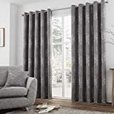 Elmwood Trees Fully Lined Eyelet Grommet Top Curtains – Graphite > 66″ Wide x 72″ Drop Review