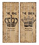 Deco 79 Wood Wall Decor, 36 by 14'', Set of 2 Assorted (King & Queen)