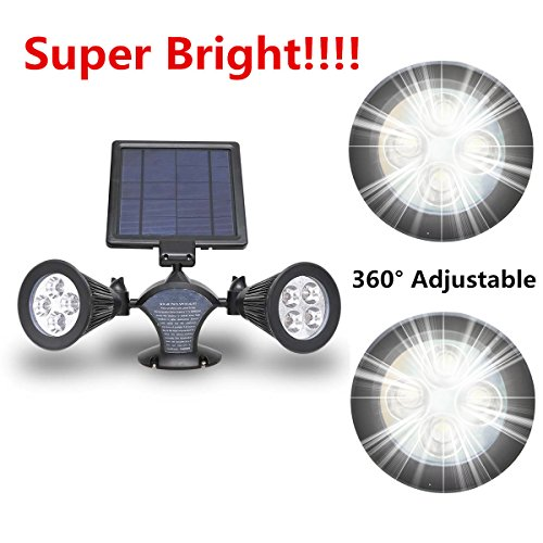 【400Lumen Super Bright】USYAO Solar Powered 8 LED Spot Light Waterproof Larger Panel and 2 Light Update Version with 360° Illuminate Your Garden Courtyard Driveway Pathway Lawn (Mount to Wall (Outside Spot Lights)