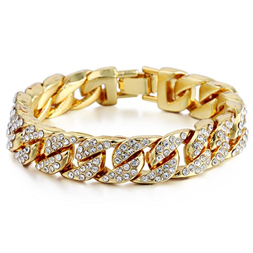Trendsmax 14mm Mens Womens Chain Hip hop Iced Out Miami Curb Cuban Gold Plated Bracelet w Paved Clear Rhinestones (Halloween Store Miami)