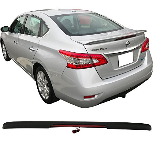 Trunk Spoiler Fits 2013-2018 Nissan Sentra | ABS Matte Black Trunk Boot Lip Spoiler Wing Deck Lid By IKON MOTORSPORTS | 2014 2015 2016