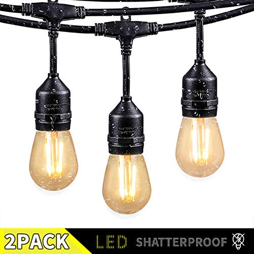 2 Pack 48 Ft LED Outdoor String Lights with 15 Dimmable S14 Edison Bulbs, Shatterproof Commercial Grade Hanging Patio Lights for Deck Backyard Bistro Cafe Gazebo Wedding Garden Vintage Light Decor