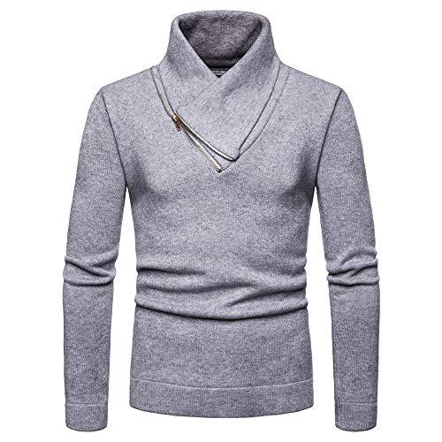 Sunhusing Men's Solid Color Casual Knitted Sweater Half-Hign V-Neck Zip Jersey Sweatshirt Top -