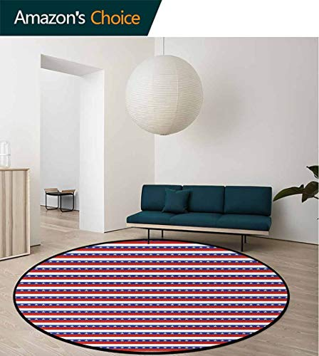 4Th Of July Non-Slip Area Rug Pad Round,Stars And Stripes Of The Greatest Country In World Patriotic Pride Protect Floors While Securing Rug Making Vacuuming Round-55 Inch,Violet Blue Ruby White 4 Ruby Area Rugs