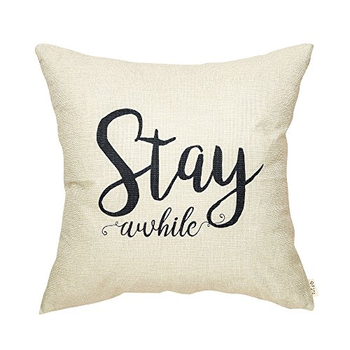 Fjfz Rustic Stay Awhile Farmhouse Decoration Retro Country Style Motivational Gift Décor Cotton Linen Home Decorative Throw Pillow Case Cushion Cover with Words for Sofa Couch 18quot x 18quot