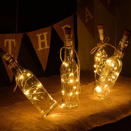kingleder Wine Bottle USB Rechargeable LED Cork Light String, USB Powered LED Accent Light for Bedroom Living Room Wedding Party Decoration(4 Pack, Warm White) (Features Cork Base)