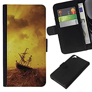 All Phone Most Case / Oferta Especial Cáscara Funda de cuero Monedero Cubierta de proteccion Caso / Wallet Case for HTC Desire 820 // Stormy Sea Painting Ship Sailing Ocean Birds