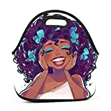 69HUANGAVANEW Happy Africa Afro Adults/Men/Women/Kids Bento Box Insulated Lunch Bag Tour School Work Lunchbox Multi-fonction Handbag
