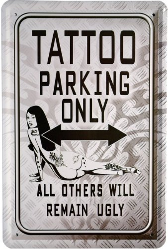 Cartel de Chapa Tattoo Parking Only Sexy Girl 20 x 30 cm ...