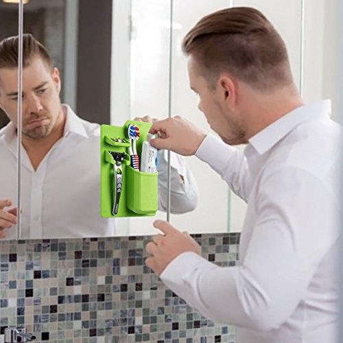 Toothbrush/ Toothpaste/ Razor/ Bathroom/ Shower Holder Caddy Dispenser Wall Mount, AUKUK Silicone Shaver Organizer (Green)