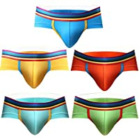 Astarin Men's Underwear, Rainbow Low Rise Modal Briefs Pack