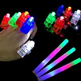 100pcs Finger Lights with 12pcs Foam Sticks Set, 112 Pack LED Light Up Toys Glow in the Dark Party Supplies, for Birthday, Weddings, Christmas, Helloween, Kids and Adult, by Seerootoys