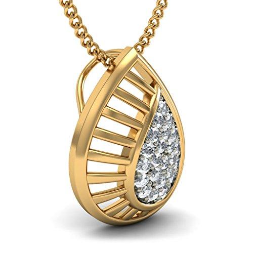 Or jaune 18K 0.17CT TW Round-cut-diamond (IJ | SI) Pendentif