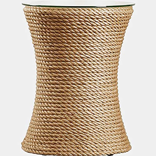 Jute Rope Base End Table - End Table with Round Glass Top - Tan