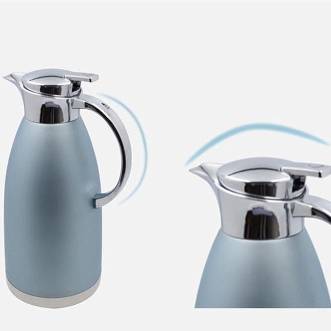Haosen 1,8 litros de acero inoxidable termos de café Hervidor de agua Termos de estilo europeo - Caliente y frío doble uso (Caqui Azul): Amazon.es: Hogar