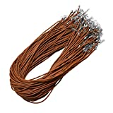 Mandala Crafts Bulk 100 DIY Jewelry Making Waxed Cord Necklace Chains with Clasps for Pendants (Brown)