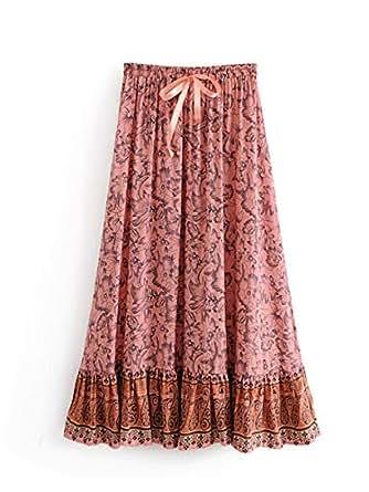 Women's Skirt High Waist Floral Pattern Loose Aline Maxi Long Skirt