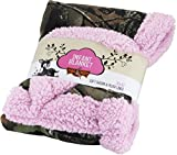 Baby Infant Camo Accent Soft Sherpa and Plushed Lined Coral Fleece Gift Blanket (Soft Pink)