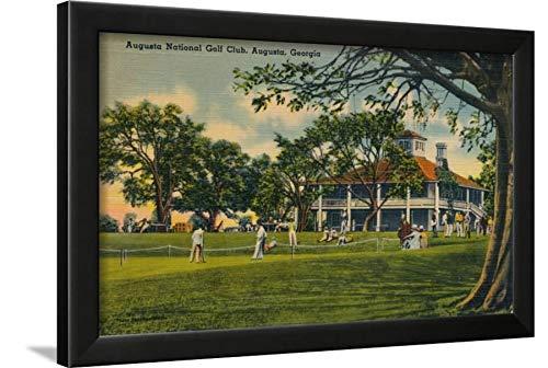 ArtEdge Augusta National Golf Club House, 1943 Black Wall Art Framed Print, 16x24, Unmatted
