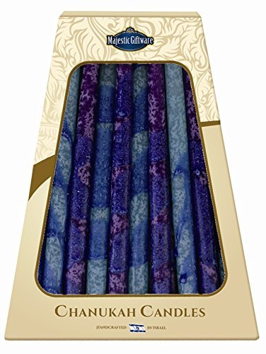 OKSLO Lamp Lighters Ultimate Judaica Safed Chanukah Candles - 45 Pack - Blue/Purple -