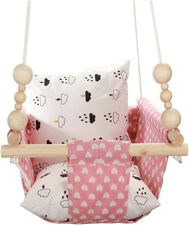 Pink Polar Bear Outdoor Patio Hanging Chair with Wood Teething Ring and 2 x Cotton Pillow Cussion HB.YE Linen Canvas Baby Hammock Chair with Adorable Pattern Cartoon Nursery Decor