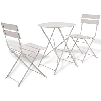 Lingjiushopping 3 pièces Salon de jardin en acier Blanc Couleur ...