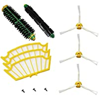 SHP-ZONE Bristle Brush & Flexible Beater Brush & Side Brush 3-Armed and Screws & Filters Pack Kit for iRobot Roomba 500 Series Roomba 510, 530, 535, 540, 560, 570, 580, 610 Vacuum Cleaning Robots all Green, Red, Black cleaning head