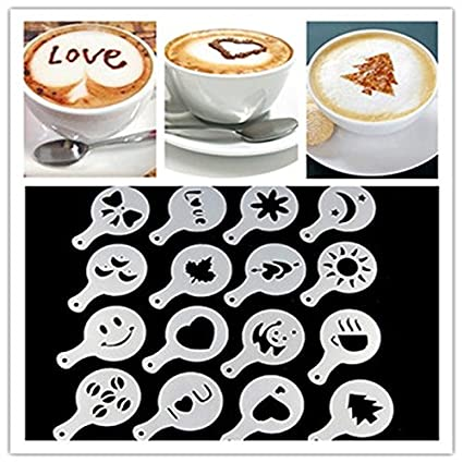 16pcs coffee latte art stencils