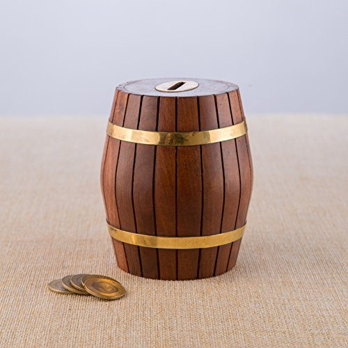 Traditional Piggy Bank - Rusticity Indian Rosewood Barrel Money Savings Box Holder w/ Slot & Lock/Vintage Rustic Handmade Sheesham Piggy Bank for Kids and Adults/Traditional Antique Handcrafted Coin Box | (4x4 in)