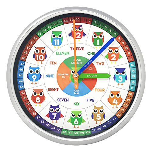 - Educational Wall Clock - Silent Movement Time Teaching Clock for Teacher's Classrooms and Kid's Bedrooms (Owl Boys)