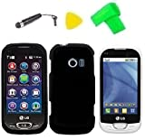 Phone Cover Case Cell Phone Accessory + Extreme Band + Stylus Pen + LCD Screen Protector + Yellow Pry Tool For LG FREEDOM II 2 UN280 (Black)