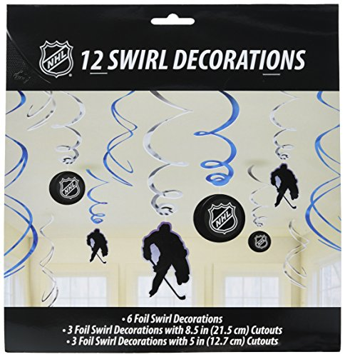 Amscan Sports & Tailgating NHL Party Ice Time! Swirl Decorations Value Pack, Paper, Pack of 12 Party Supplies