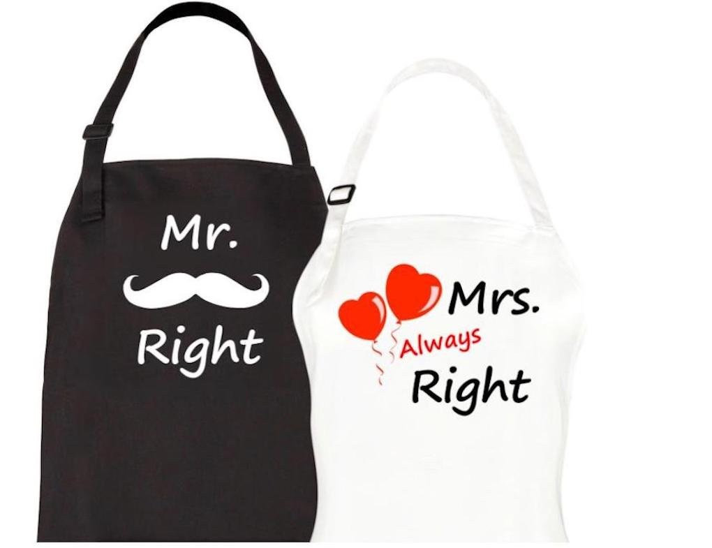 Let the Fun Begin Couples Aprons - Mr. Right & Mrs. Always Right Apron Set - His Hers Engagement, Anniversary or Bridal Shower Gift