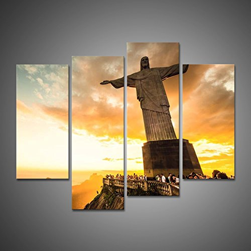 Portrait Painting Printed Canvas Wall Art Painting Home Decoration Wall Mural Modern Picture Christ The Redeemer Statue At The Top Of Corcovado Mountain In Rio De Janeiro Giclee Artwork by uLinked Art ()