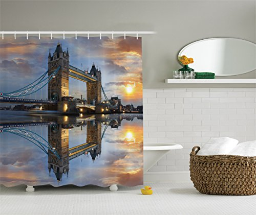 Ambesonne London Decor Collection, Sight of Tower Bridge at Sunset with Reflection on Thames River Sun with Clouds Picture, Polyester Fabric Bathroom Shower Curtain, Yellow Blue Ivory (Picture London Bridge)
