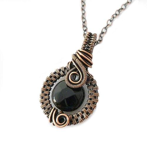 Black Stone wSwirls Copper Necklace
