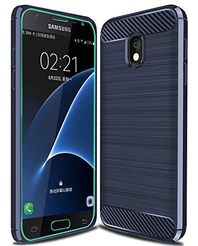 Samsung Galaxy J7 2018 with HD Screen Protector, J7 Aero/J7 Top/J7 Refine/J7 Eon/J7 Star/J7 Crown/J7 Aura case Ucc Carbon Fiber Design [ Anti-Scratch][Non-Slip]Cover for Samsung Galaxy J7 2018 (Blue)