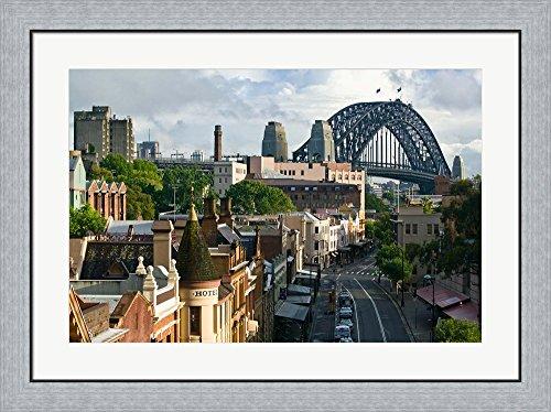 Australia, New South Wales, Sydney, George Street by Walter Bibikow / Danita Delimont Framed Art Print Wall Picture, Flat Silver Frame, 34 x 25 - Sydney Street George Australia