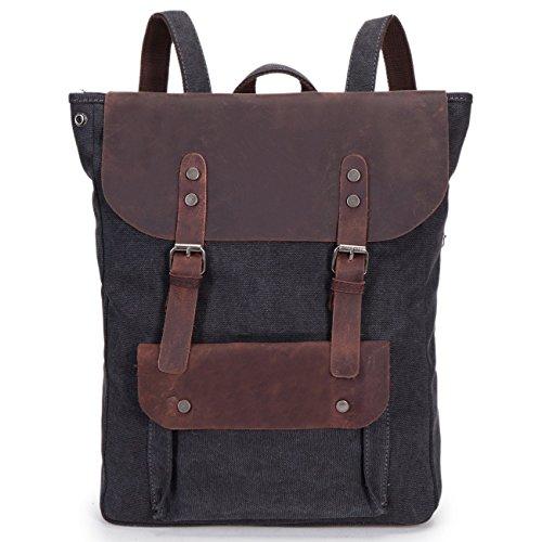 VADOOLL® Damen Herren Studenten Vintage Retro Canvas Leder Rucksack Schultasche Reisetasche Daypack Uni Backpack 15 Zoll Laptoprucksack für Outdoor Sports Freizeit