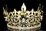 4.5'' Tall Fleur-De-Lis King Royal Full Crown - Gold Plated Clear Crystals T995 by Venus Jewelry