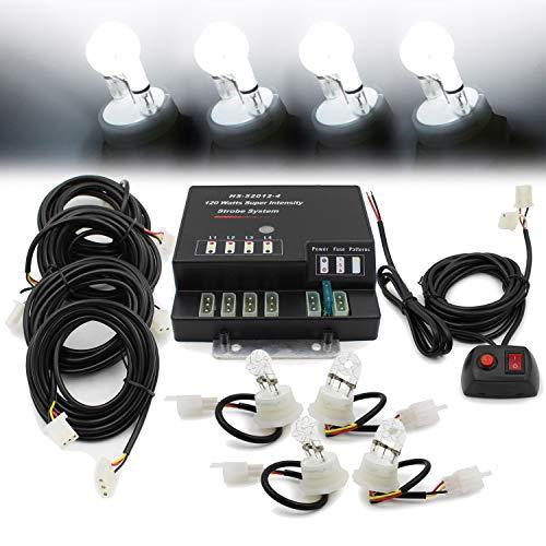 FOXCID Hide A Way 80 Watt HID Emergency Hazard Warning Headlight Strobe Light Kit System For Vehicle Truck (4 HID Bulbs)